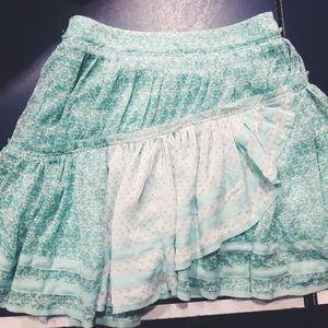 Free People Teal Patterned Skirt